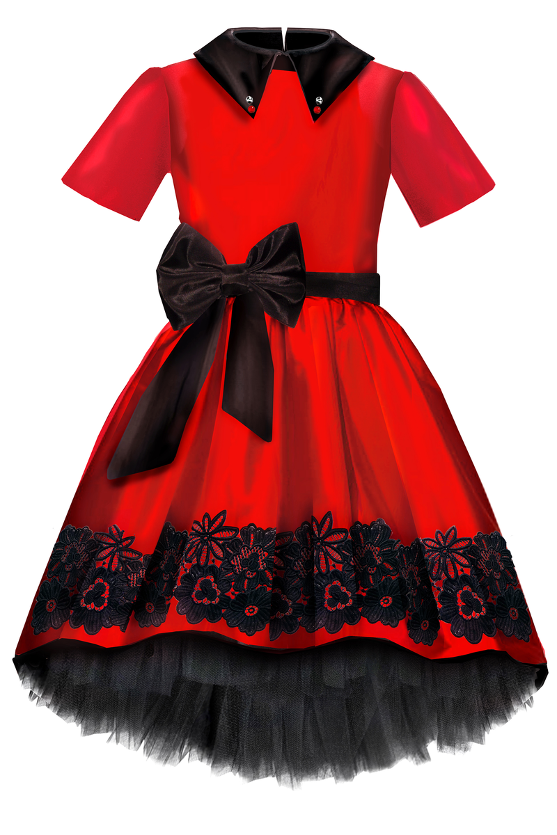 Aurora High-Low Taffeta Girls Dress in Red & Black - LAZY FRANCIS - Shop in store at 406 Kings Road, Chelsea, London or shop online at www.lazyfrancis.com