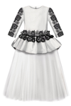 White Giselle Maxi Gown Tutu Dress With Black Lace