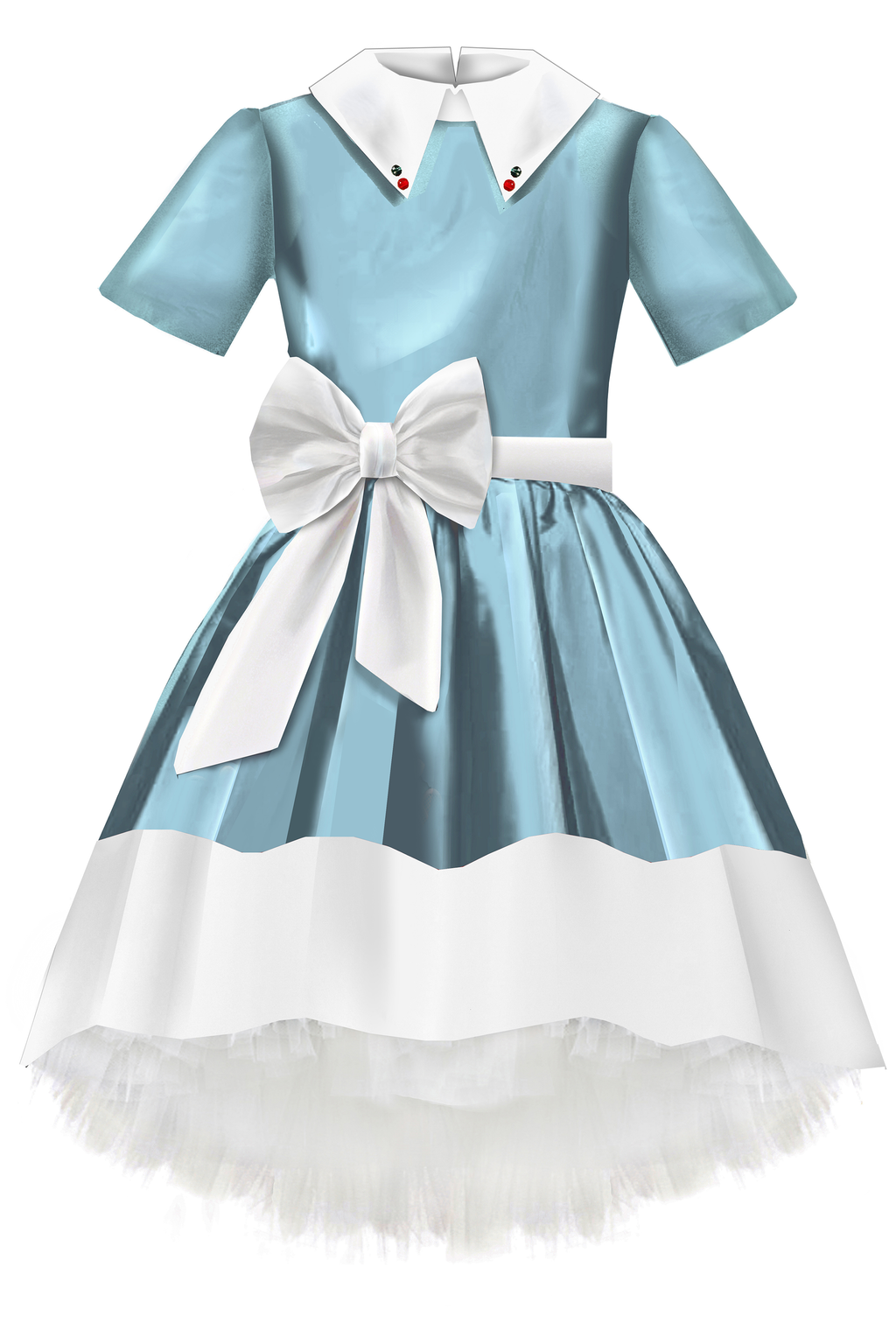 Light Blue Taffeta High-Low Girls Dress with White Collar and Bow