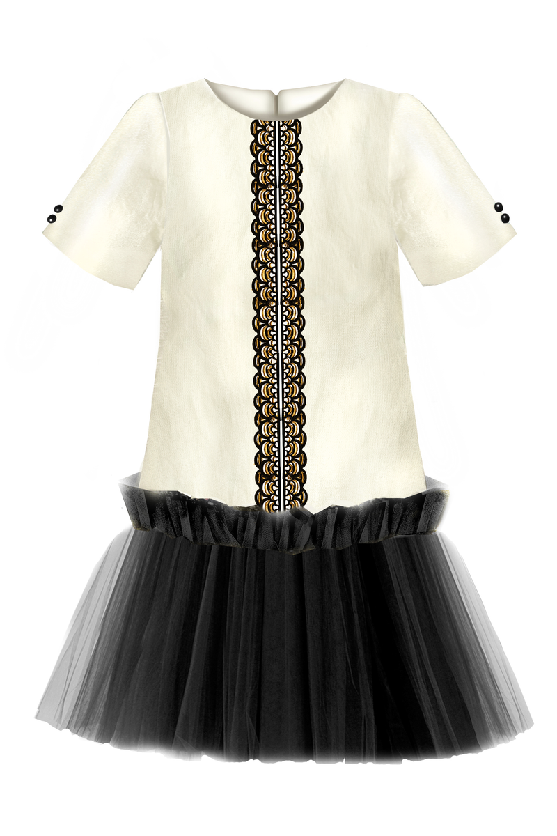 NEW! Golden Beige Viscose Girls Trapeze Dress with Black Lace and Tulle Skirt