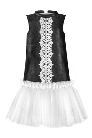 Black Viscose Trapeze Dress With White Tulle Skirt and Star Lace - LAZY FRANCIS - Shop in store at 406 Kings Road, Chelsea, London or shop online at www.lazyfrancis.com