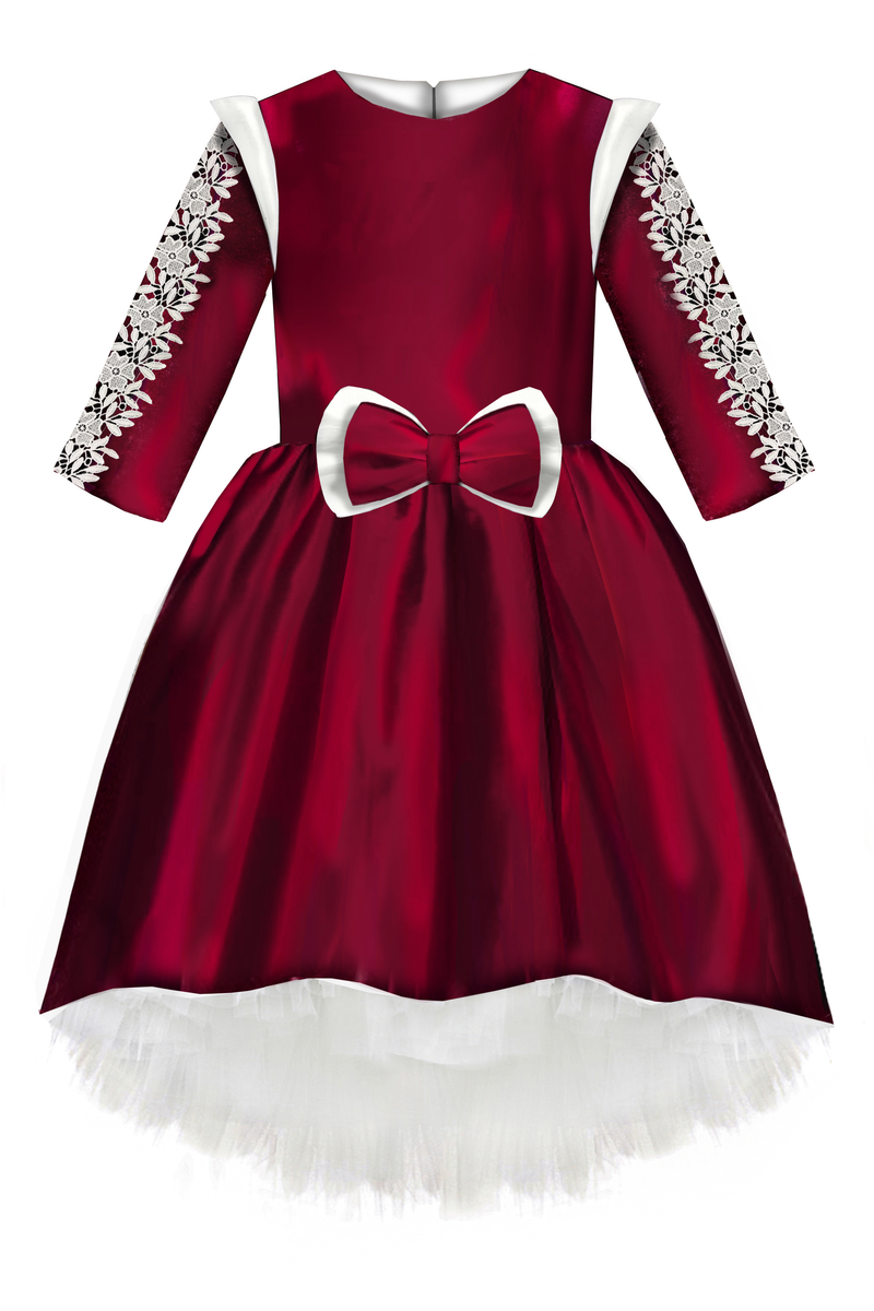 Plum Taffeta High Low Dress with Lush Bow and White Lace