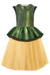 *Sample* Olive & Gold Taffeta Peplum Girls Tutu Dress with Lace - LAZY FRANCIS - Shop in store at 406 Kings Road, Chelsea, London or shop online at www.lazyfrancis.com
