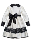 Classic Long Sleeved Girls Dress in White Taffeta - LAZY FRANCIS - Shop in store at 406 Kings Road, Chelsea, London or shop online at www.lazyfrancis.com