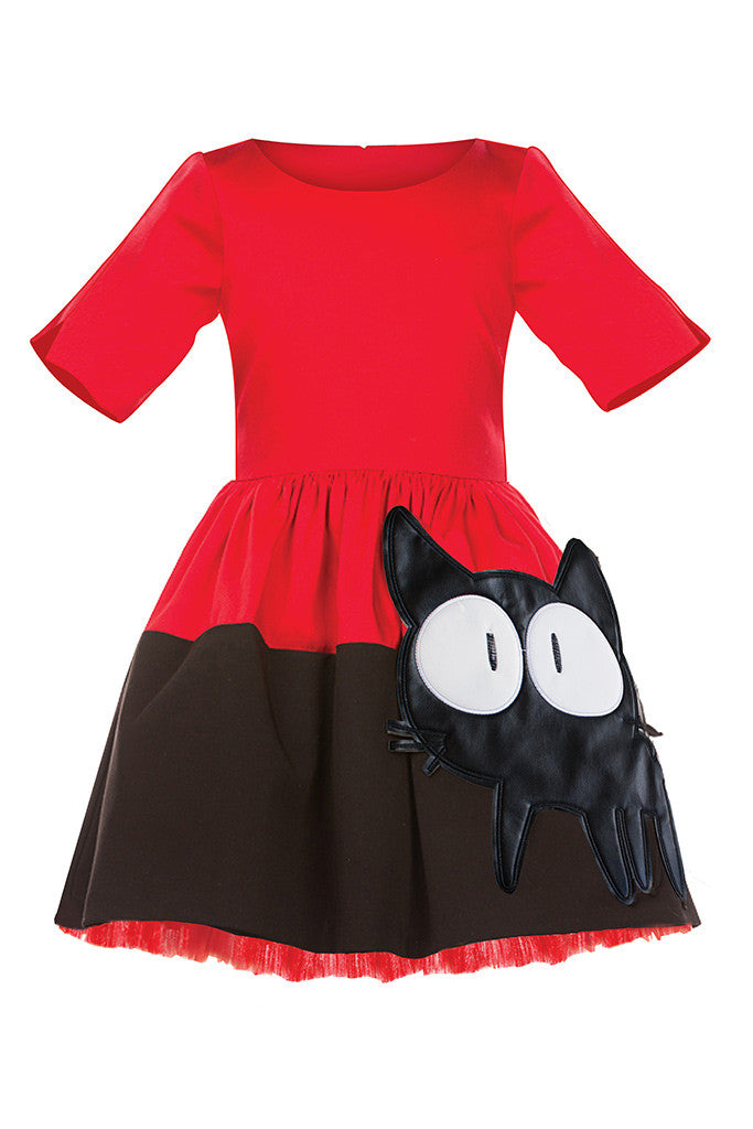 Red & Black Full Girls Dress with Cat Appliqué and Red Tulle Underskirt - LAZY FRANCIS - Shop in store at 406 Kings Road, Chelsea, London or shop online at www.lazyfrancis.com