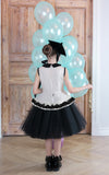 White Crinkle Taffeta Girls Peplum Tutu Dress with Black Unique Curly Details