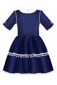 Navy Blue Full Girls Dress with White Tassels