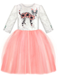Flower Motif Jacquard Top and Pink Girls Tutu Dress with Sequin Cat Appliqué