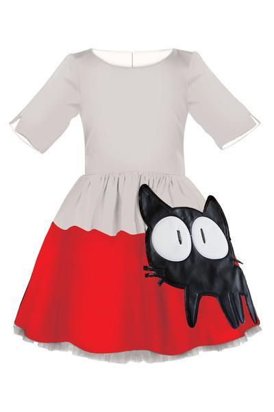 Grey and Red Full Dress with Cat Appliqué, Lush Bow and Grey Tulle Underskirt - LAZY FRANCIS - Shop in store at 406 Kings Road, Chelsea, London or shop online at www.lazyfrancis.com