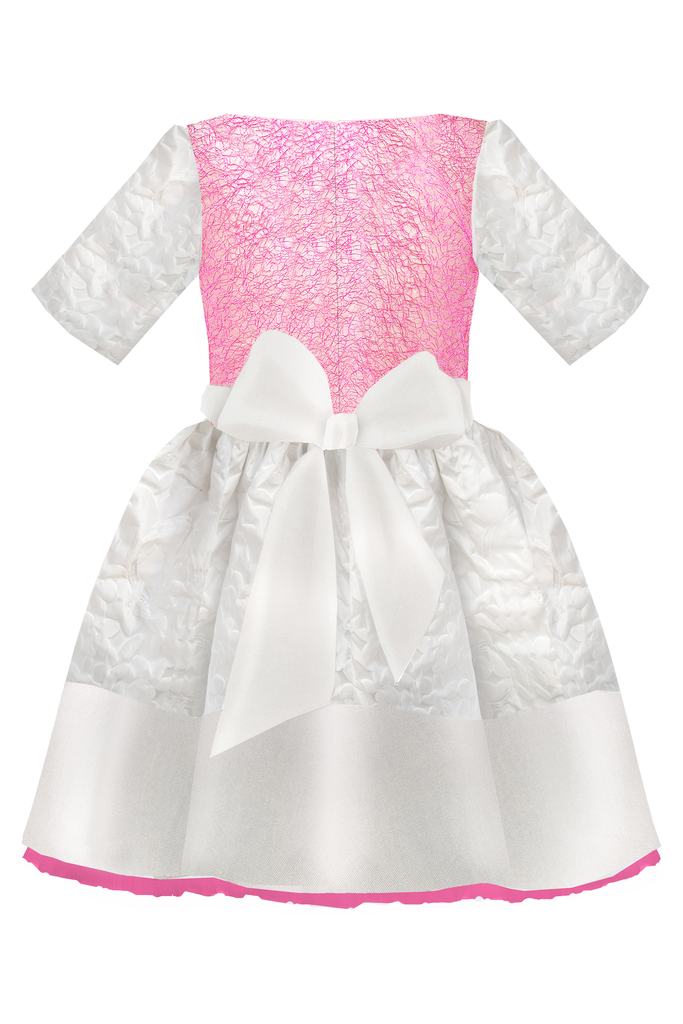 White Flower Motif Jacquard Girls Designer Dress with Fuchsia Lace and Bow by Lazy Francis special occasion, flower girl, birthday, summer, back, sale