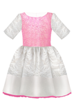 White Flower Motif Jacquard Girls Designer Dress with Fuchsia Lace and Bow by Lazy Francis special occasion, flower girl, birthday, summer, front, sale