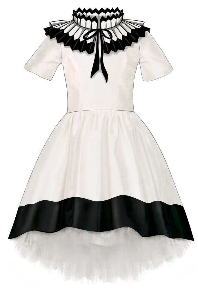 Ivory & Black Taffeta Dress with Pleated Collar - LAZY FRANCIS - Shop in store at 406 Kings Road, Chelsea, London or shop online at www.lazyfrancis.com