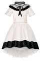 Ivory & Black Taffeta Dress with Pleated Collar