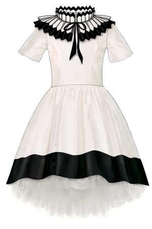 Gorgeous Ivory & Black Taffeta Girls High-Low Dress with Detachable Pleated Collar - LAZY FRANCIS - shop online at www.lazyfrancis.com