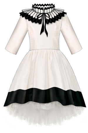 Gorgeous Ivory & Black Taffeta Girls High-Low Dress with Detachable Pleated Collar and ¾ Sleeves