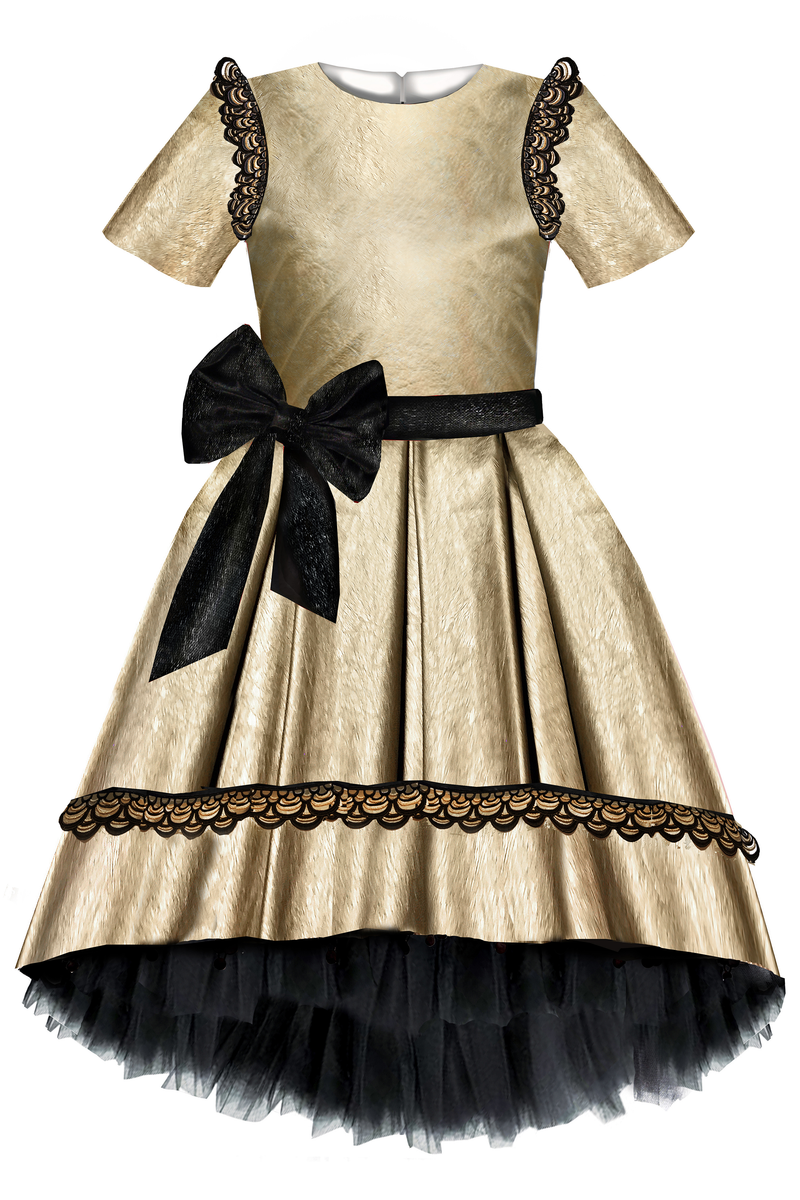 Gold Faux Leather High-Low Dress with Bow and Golden Black Lace - LAZY FRANCIS - shop online at www.lazyfrancis.com