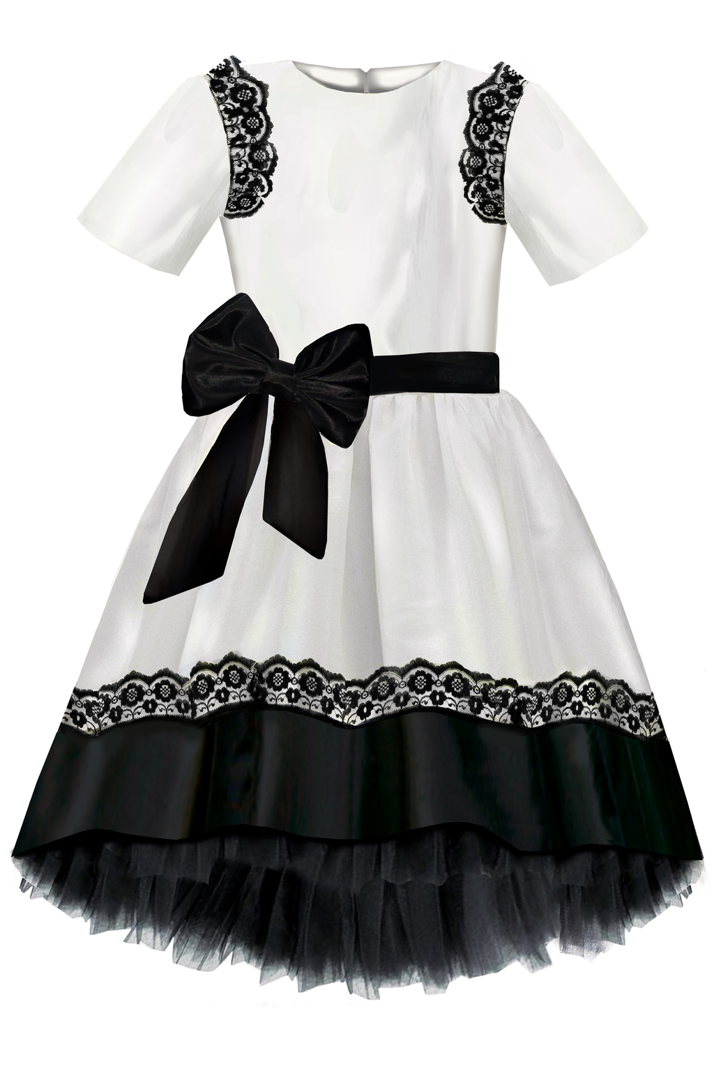 White Monaco Taffeta Dress with Black Lace and Tulle Petticoats - LAZY FRANCIS - Shop in store at 406 Kings Road, Chelsea, London or shop online at www.lazyfrancis.com