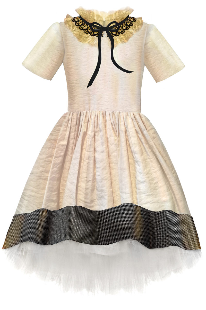 Golden Beige Girls High-Low Dress with Detachable Lace Collar and Tulle Petticoat