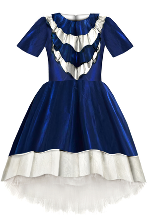 Belle Navy Blue Taffeta High-Low Dress with Ruffles and Tulle Petticoat - LAZY FRANCIS - Shop in store at 406 Kings Road, Chelsea, London or shop online at www.lazyfrancis.com