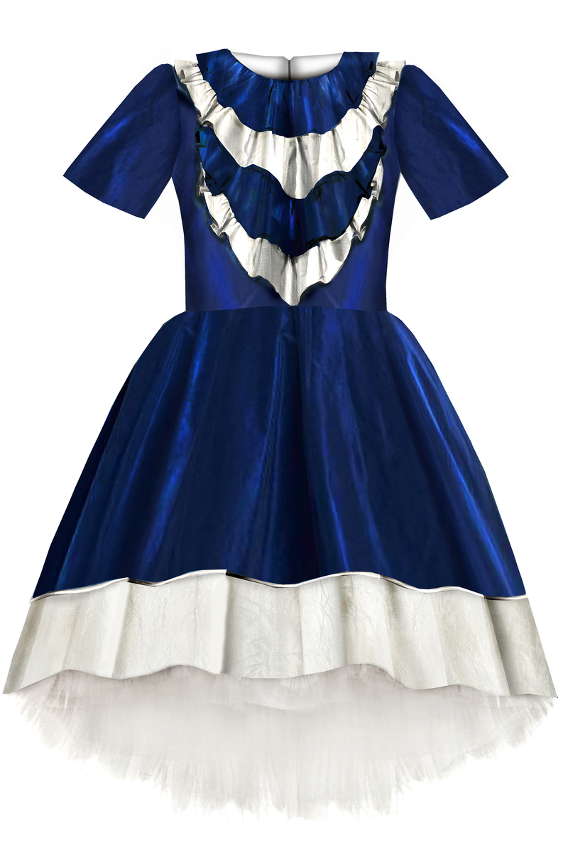 Belle Blue Taffeta High-Low Dress with Ruffles - LAZY FRANCIS - Shop in store at 406 Kings Road, Chelsea, London or shop online at www.lazyfrancis.com
