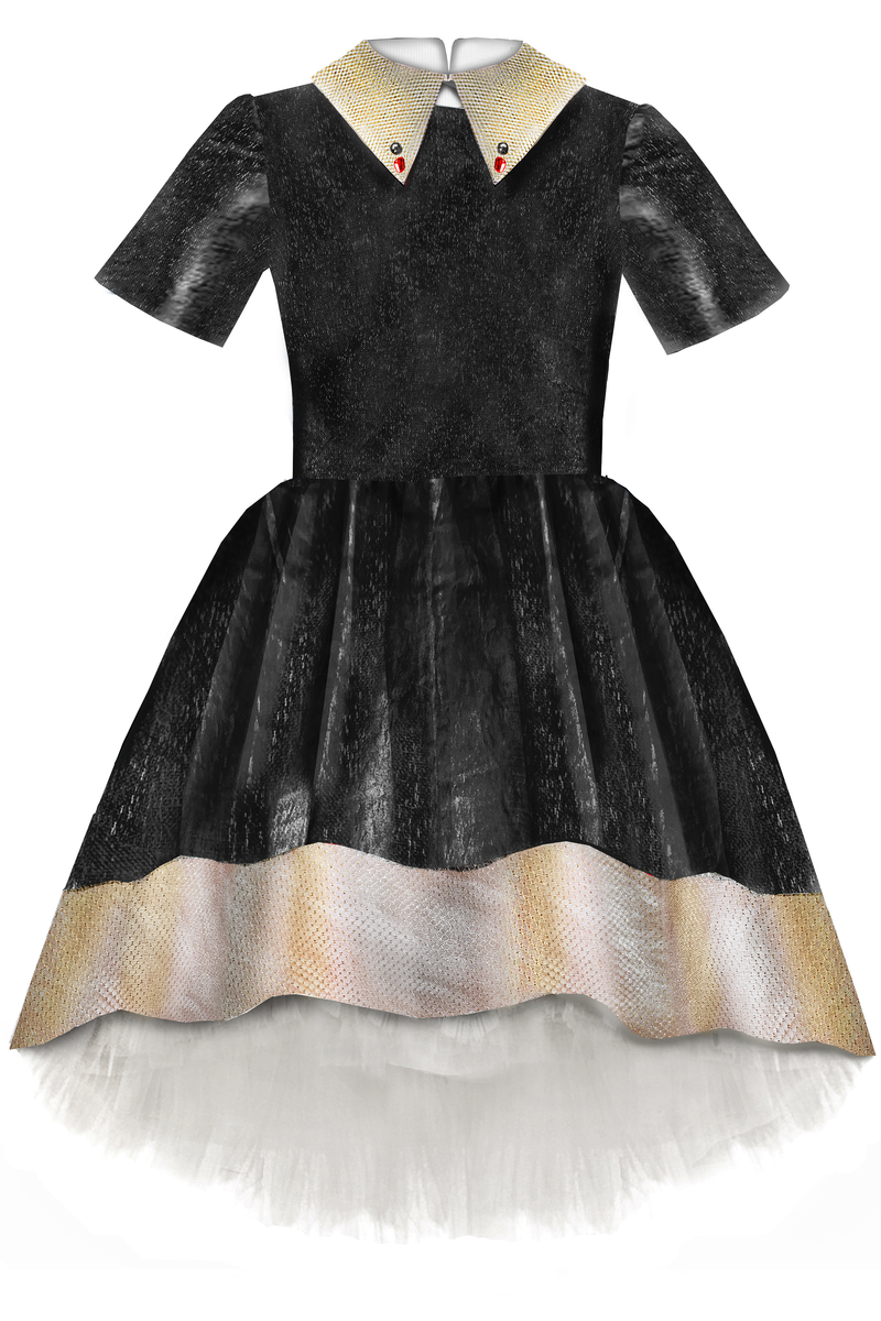 Black Taffeta Girls High-Low Dress with Gold Beige Collar and Tulle Underskirt - LAZY FRANCIS - Shop in store at 406 Kings Road, Chelsea, London or shop online at www.lazyfrancis.com