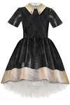 Black Girls High-Low Dress with Gold Beige Collar and Tulle Underskirt - LAZY FRANCIS - Shop in store at 406 Kings Road, Chelsea, London or shop online at www.lazyfrancis.com