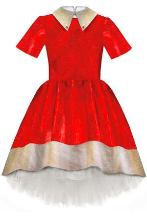 Red Girls High-Low Dress with Gold Beige Collar and White Tulle