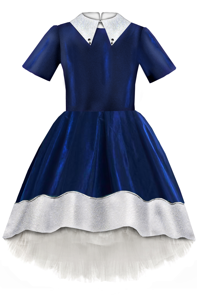Ivy Navy Blue & White Taffeta High-Low Girls Dress with Tulle - LAZY FRANCIS - Shop in store at 406 Kings Road, Chelsea, London or shop online at www.lazyfrancis.com