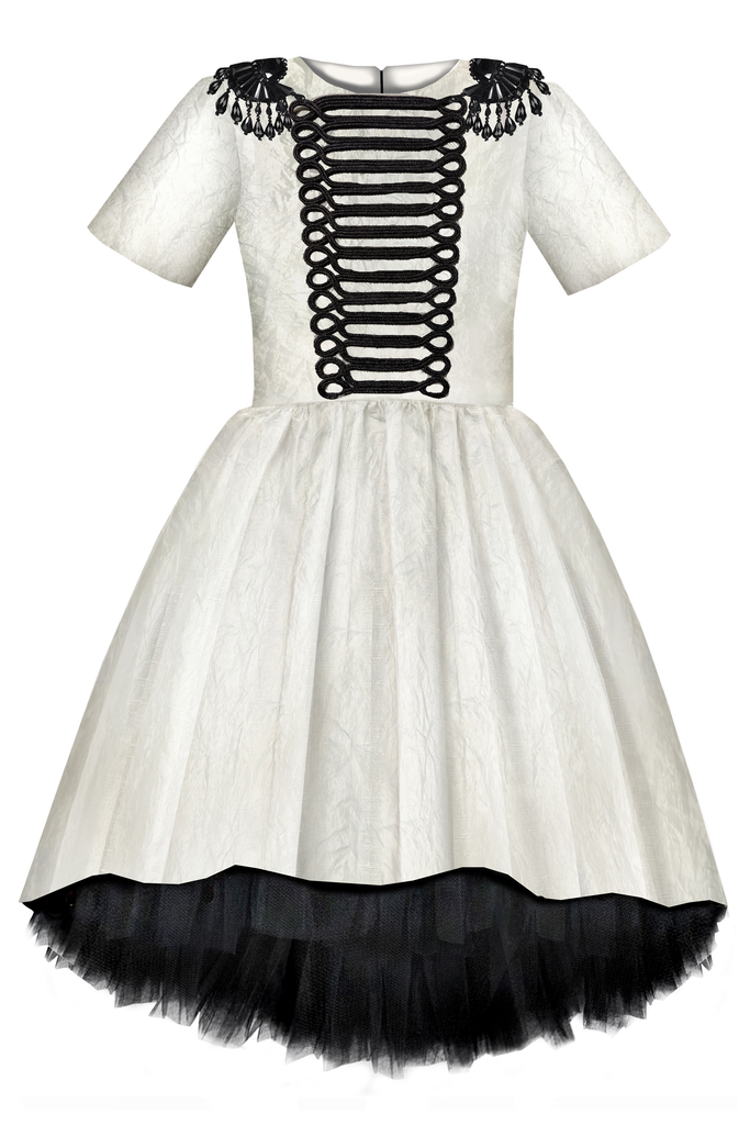 lazy francis couture White & Black Taffeta Dress with Black Gem Stones & Hussar Embroidery