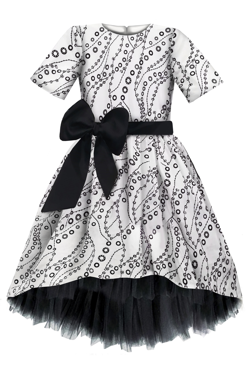 Paris Light Viscose High-Low Girls Dress With Black Tulle Petticoat - LAZY FRANCIS - Shop in store at 406 Kings Road, Chelsea, London or shop online at www.lazyfrancis.com