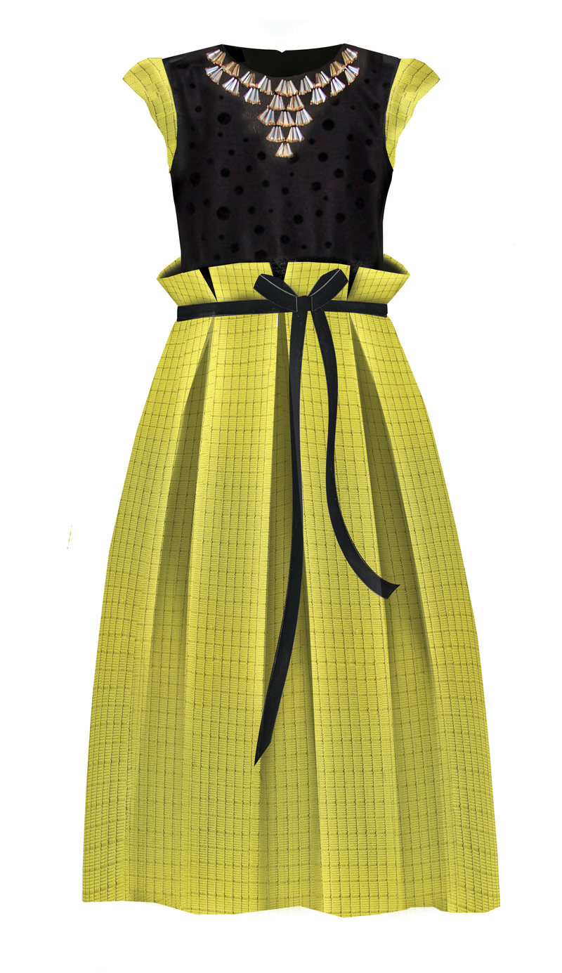 Neoprene Maxi Girls Dress with Gem Stone Necklace in Yellow