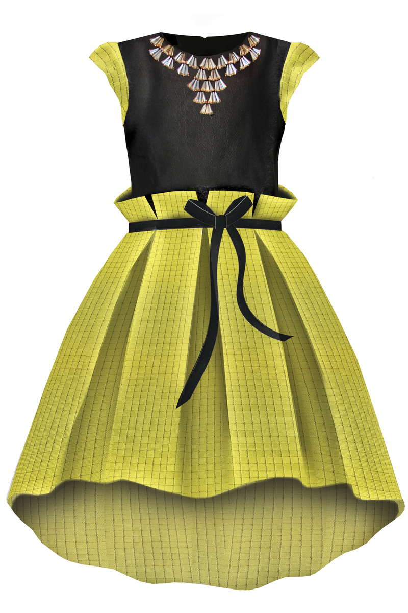 Neoprene High-Low Girls Dress with Gem Stone Necklace in Yellow