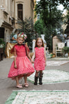 Limited Edition Marcelle Pink Flower Jacquard High-Low Girls Dress - LAZY FRANCIS - Shop in store at 406 Kings Road, Chelsea, London or shop online at www.lazyfrancis.com