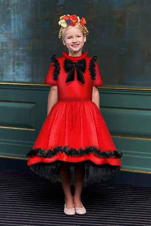 Charming Red Viscose Girls High-Low Dress with Black Curly Lace Details and Bow