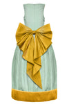 Harmony Aquamarine and Gold Raw Silk Maxi Girls Dress with Stone Appliqué