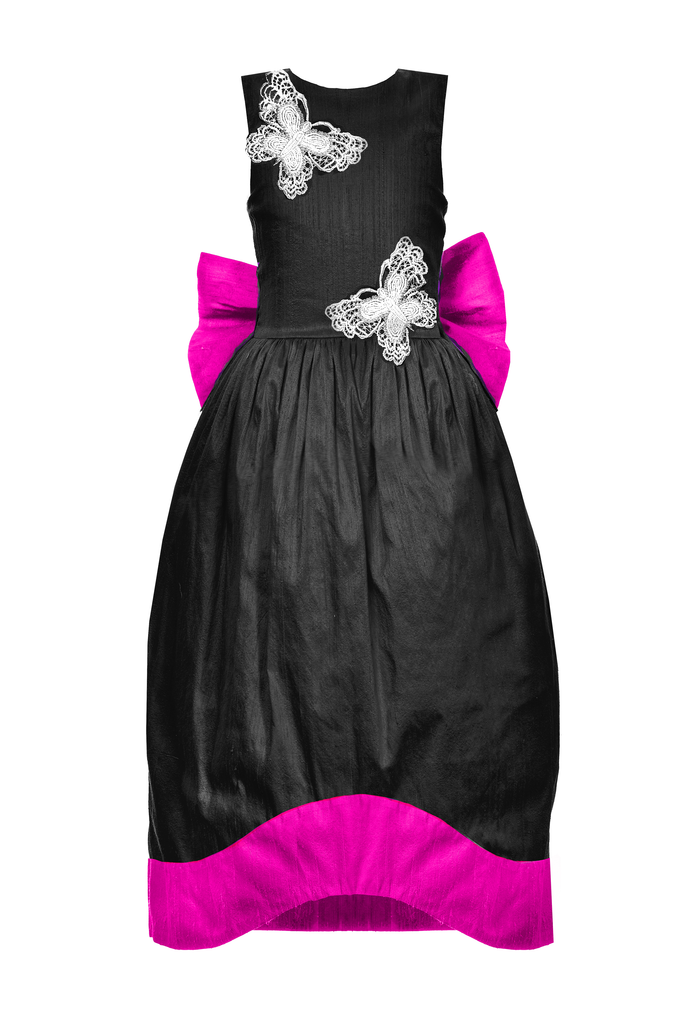lazy francis  Black Fuchsia Pink Raw Silk Couture Maxi Dress Couture Party Celebration