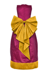 Scheherazade Raspberry Pink and Golden Yellow Raw Silk Couture Maxi Girls Dress - LAZY FRANCIS - Shop in store at 406 Kings Road, Chelsea, London or shop online at www.lazyfrancis.com