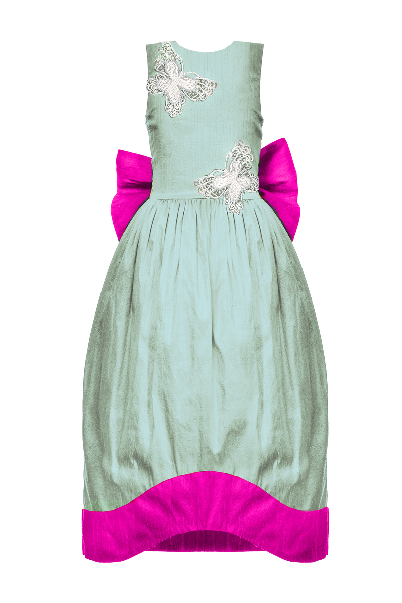 Scheherazade Aquamarine and Fuchsia Pink Raw Silk Couture Maxi Girls Dress