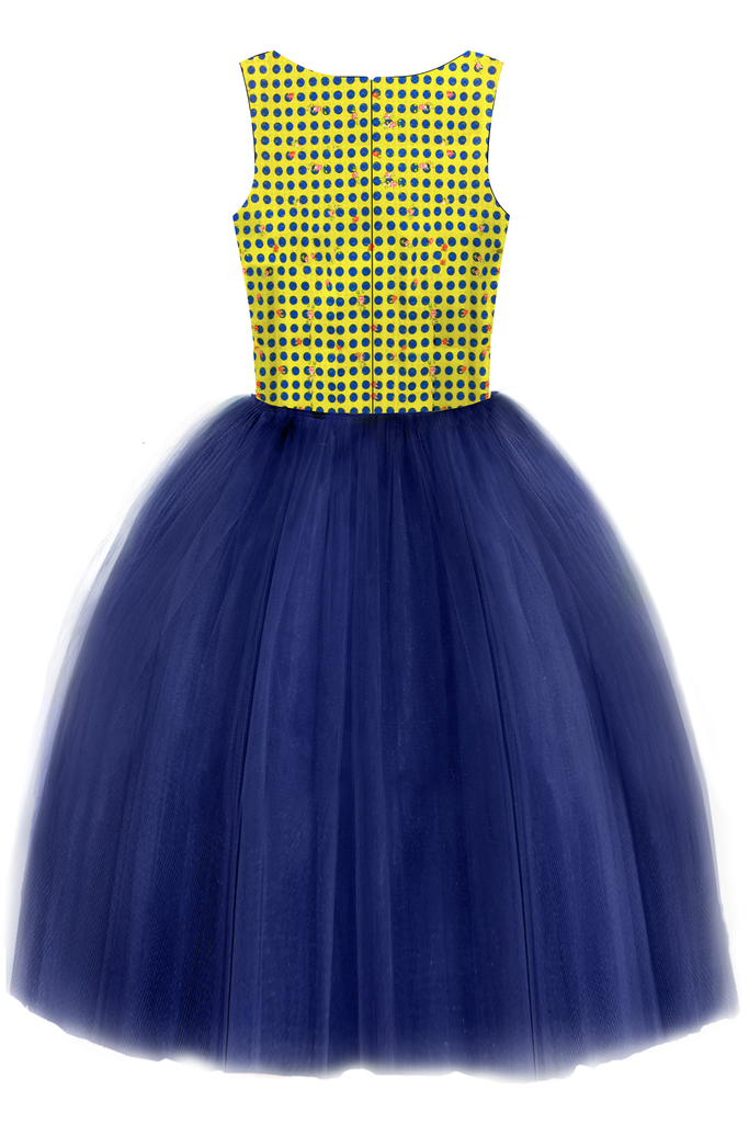 Yellow Polka Dot and Navy Blue Mummy Tutu Dress - LAZY FRANCIS - Shop in store at 406 Kings Road, Chelsea, London or shop online at www.lazyfrancis.com