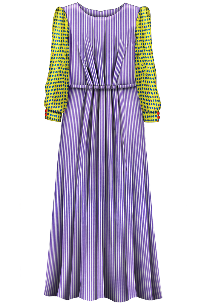 Purple Maxi Mummy Dress with Bright Sleeves - LAZY FRANCIS - Shop in store at 406 Kings Road, Chelsea, London or shop online at www.lazyfrancis.com
