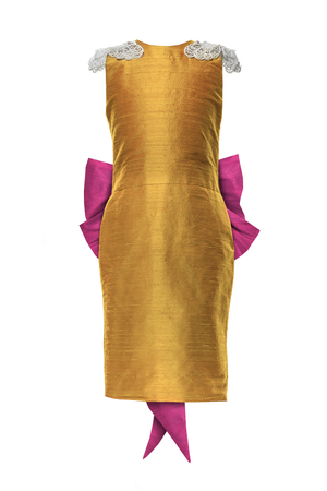 Oasis Butterfly Golden Yellow Raw Silk Couture Girls Pencil Dress