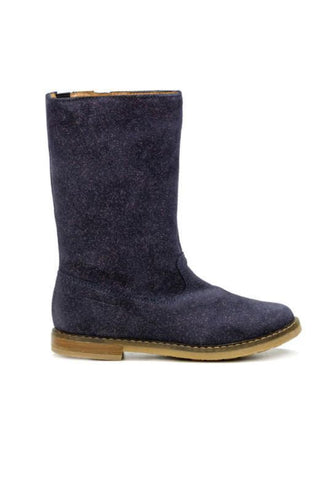 Grey Suede Sparkle Ankle Girls Boots - Pom D'Api