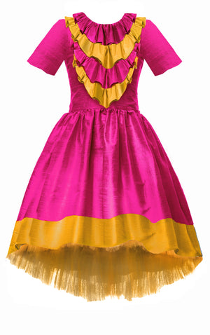 Belle Bright Gold & Fuchsia Pink Raw Silk High-Low Girls Dress