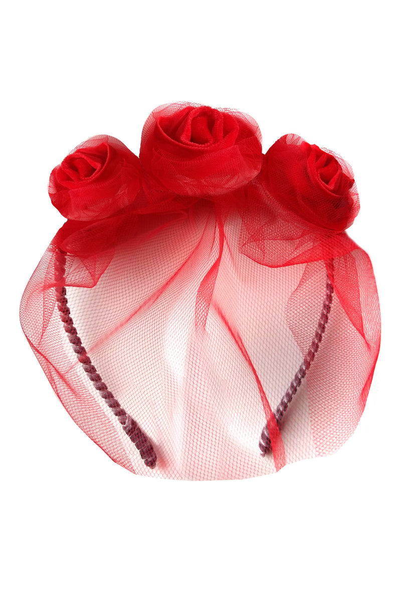 Red Velvet Triple Rose Headband - LAZY FRANCIS - Shop in store at 406 Kings Road, Chelsea, London or shop online at www.lazyfrancis.com