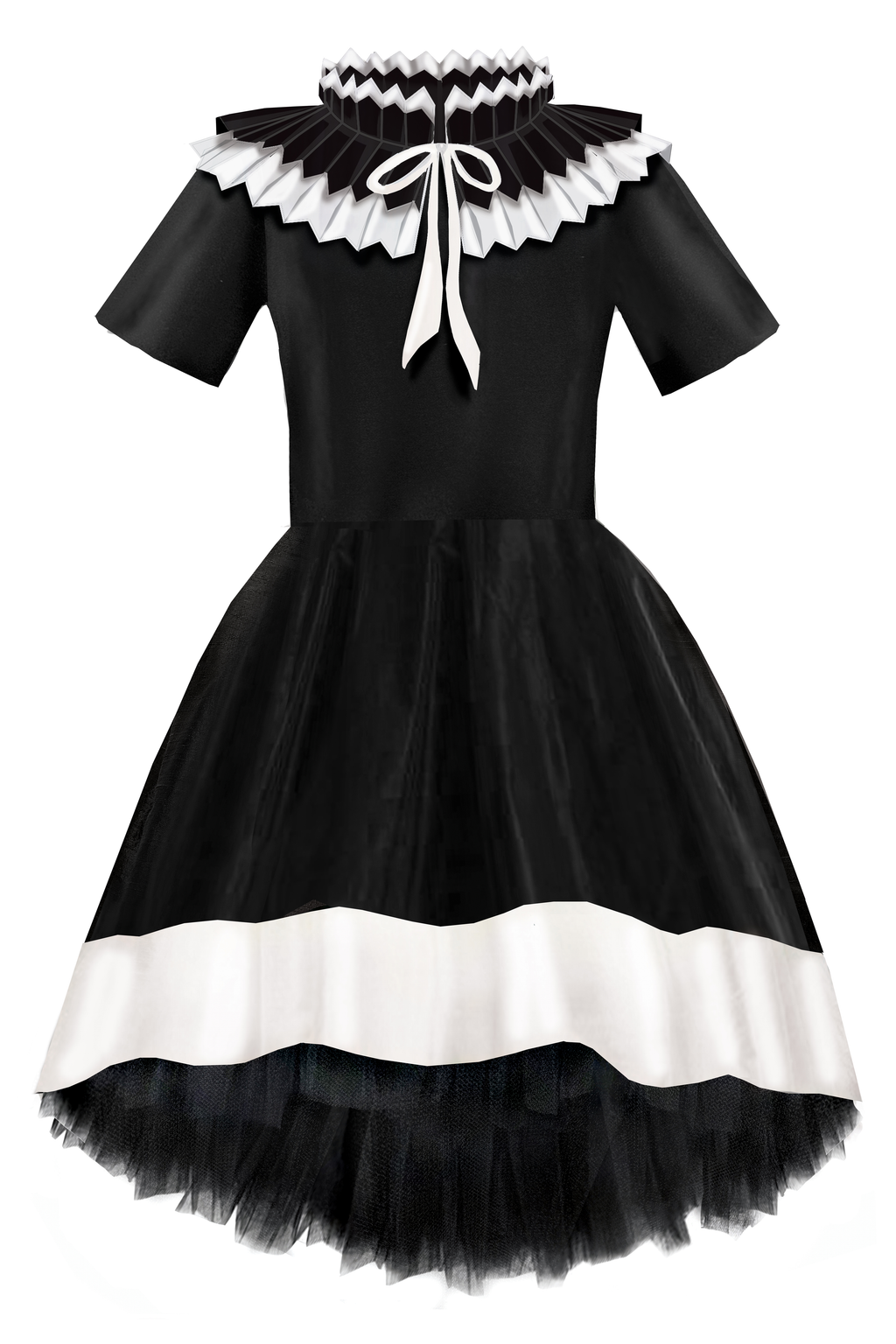 Stunning Black & Ivory Taffeta Girls High-low Dress with Detachable Pleated Collar - LAZY FRANCIS - Shop in store at 406 Kings Road, Chelsea, London or shop online at www.lazyfrancis.com