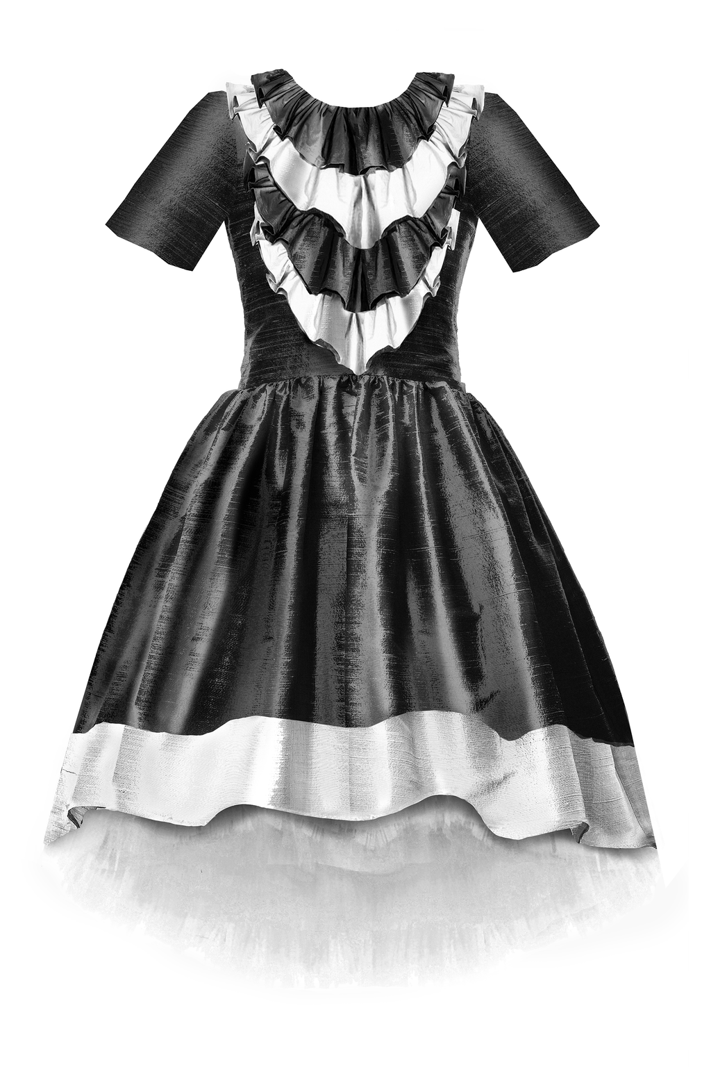 Belle Black & Off White Raw Silk High-Low Girls Dress with Ruffles - LAZY FRANCIS - Shop in store at 406 Kings Road, Chelsea, London or shop online at www.lazyfrancis.com