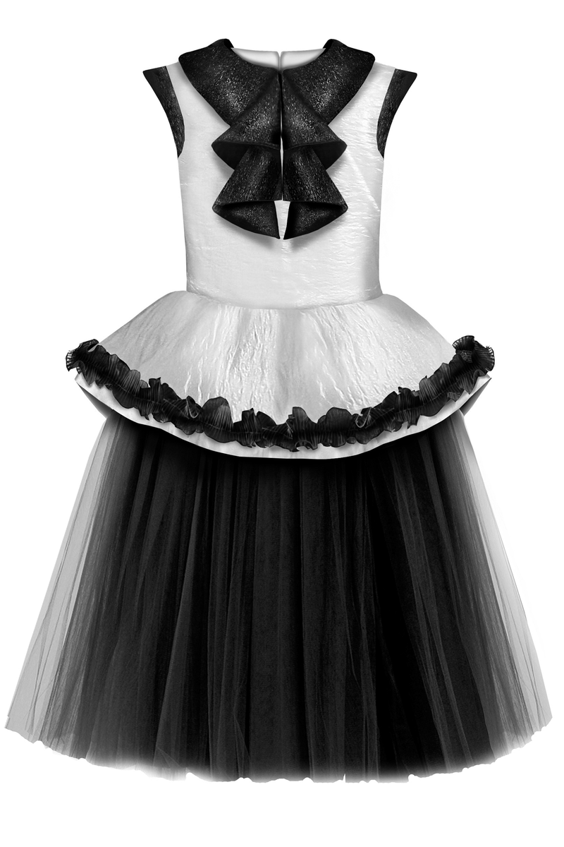 ✭New✭ White Crinkle Taffeta Girls Peplum Tutu Dress with Black Unique Curly Details - LAZY FRANCIS - Shop in store at 406 Kings Road, Chelsea, London or shop online at www.lazyfrancis.com