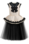 Golden Beige Girls Peplum Tutu Dress with Black Unique Curly Details
