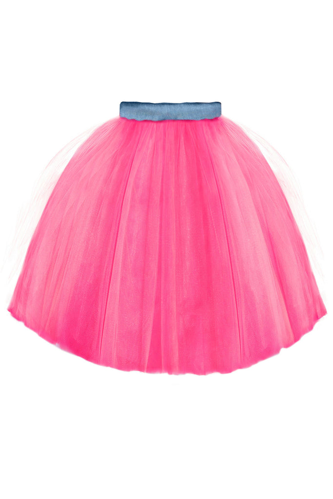Fuchsia High-Low Girls Designer Tutu Skirt with Denim Belt by Lazy Francis Summer Party special occasion birthday back sale