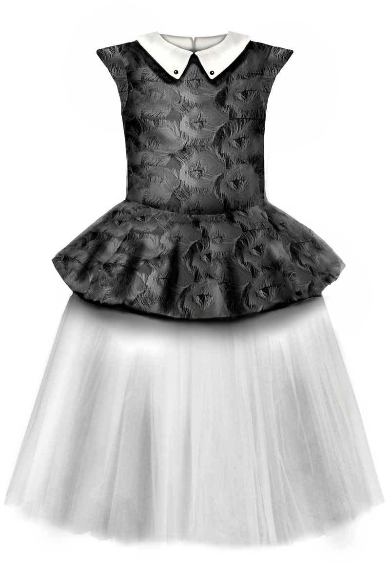 ⋆Limited Edition⋆ Black & White Fluffy Girls Peplum Tutu Dress with White Collar - LAZY FRANCIS - Shop in store at 406 Kings Road, Chelsea, London or shop online at www.lazyfrancis.com
